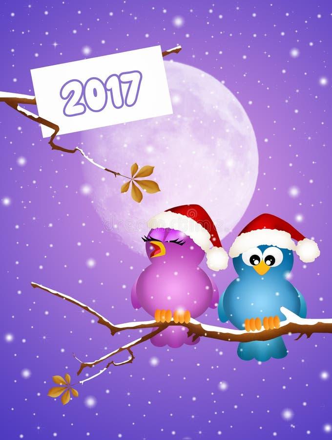 Oiseaux joyeux pendant la nouvelle année illustration de vecteur