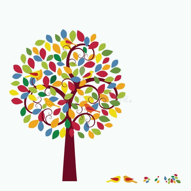 Oiseaux lunatiques multicolores d'arbre dans l'arbre   illustration de vecteur