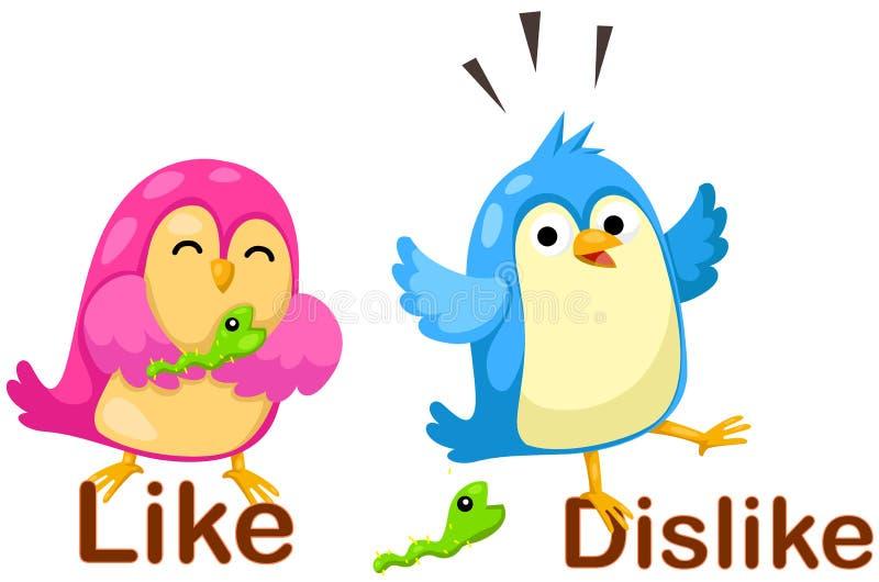 Oiseaux mignons avec des mots opposés illustration libre de droits
