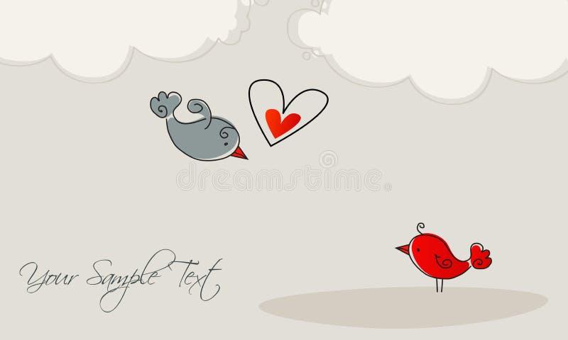 Oiseaux mignons dans l'amour illustration libre de droits