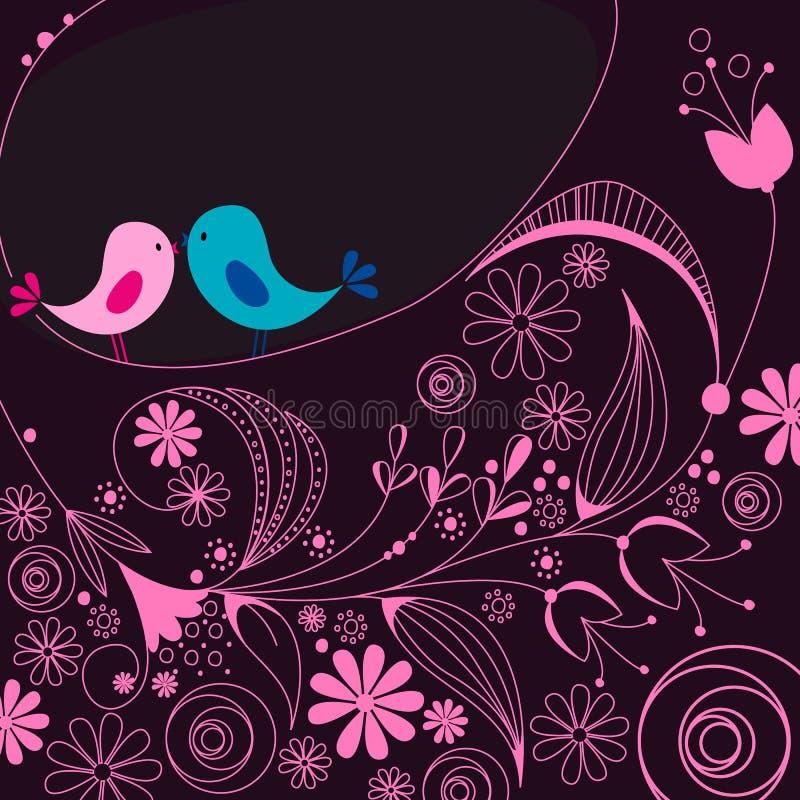 Oiseaux mignons dans l'amour illustration de vecteur