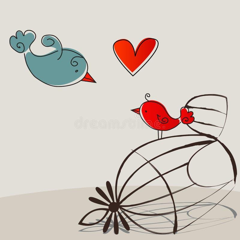 Oiseaux mignons dans l'amour illustration stock