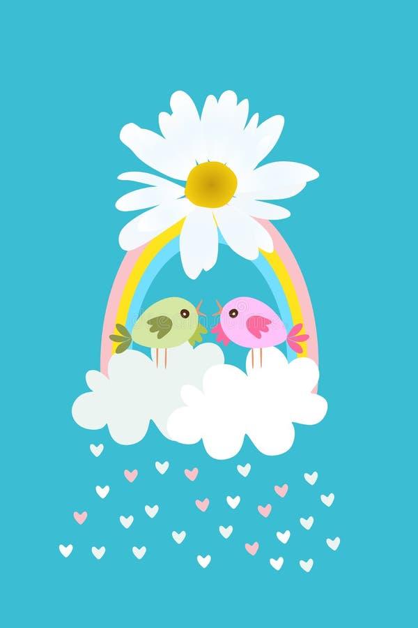 Oiseaux mignons de bande dessinée dans le panier stylisé sous la forme de nuages et d'arc-en-ciel avec l'arc en fleur de margueri illustration stock