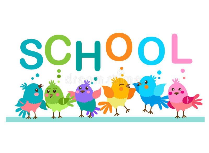 Oiseaux mignons de dessin animé Oiseaux et l'école de Word Thème d'école illustration stock