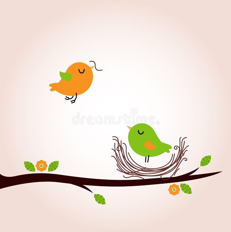 Oiseaux mignons de ressort construisant le nid illustration de vecteur