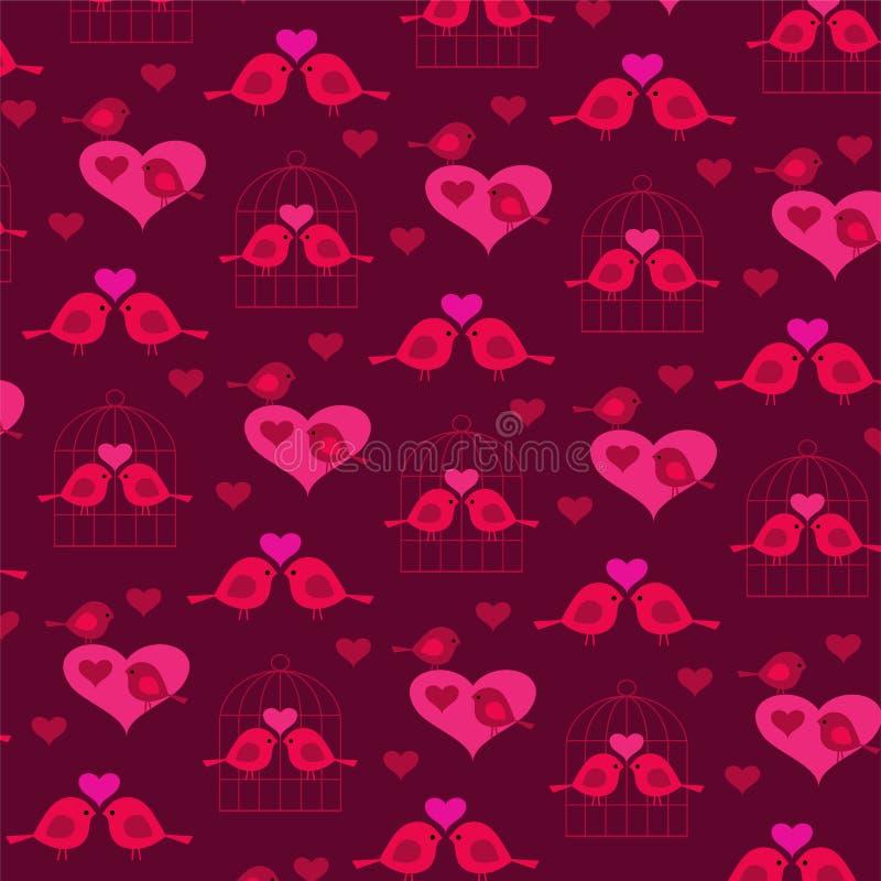 Oiseaux mignons de valentine avec les coeurs et la cage à oiseaux illustration de vecteur
