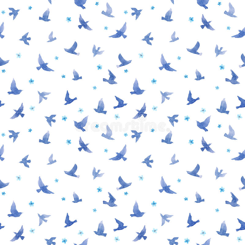 Oiseaux mignons, petites fleurs Configuration sans joint watercolor image stock