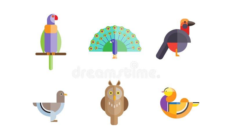 Oiseaux réglés, hibou, canard de mandarine, perroquet, colombe, paon, oiseau de pigeon, bas poly vvector polygonal coloré de dess illustration libre de droits