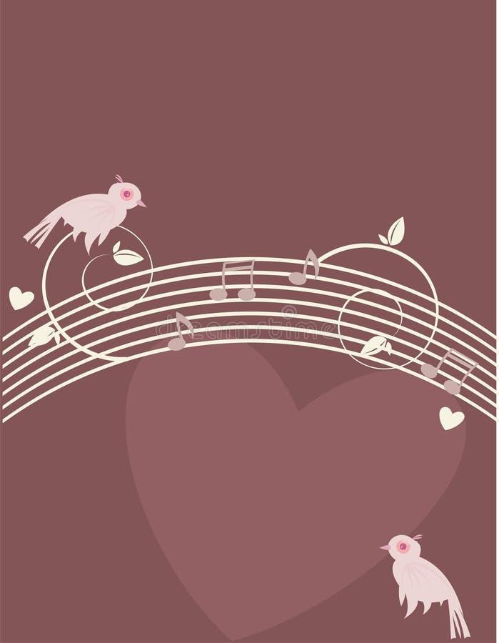 Oiseaux roses sur le fond pourpré 1 illustration stock