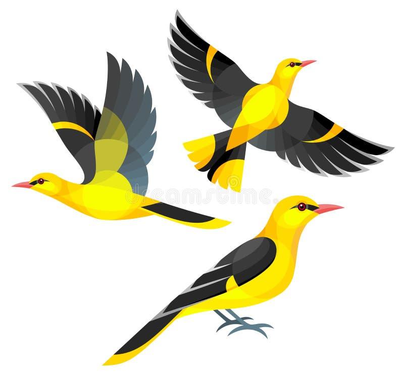 Oiseaux stylisés - loriots images stock