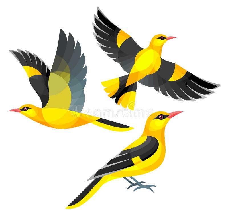 Oiseaux stylisés - loriots photographie stock