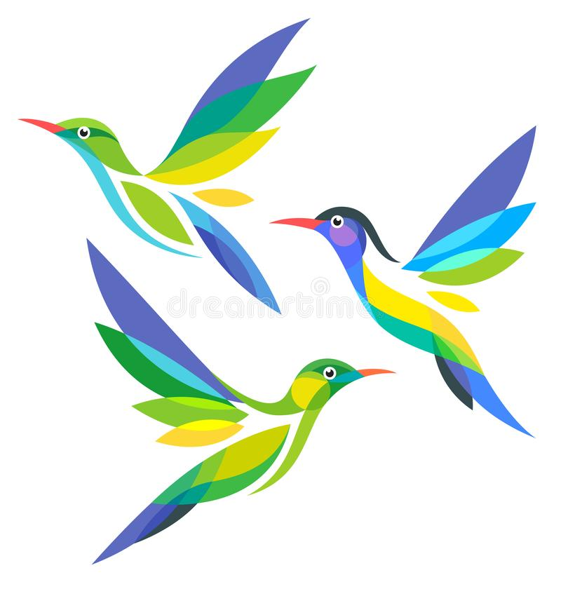 Oiseaux stylis?s en vol image libre de droits