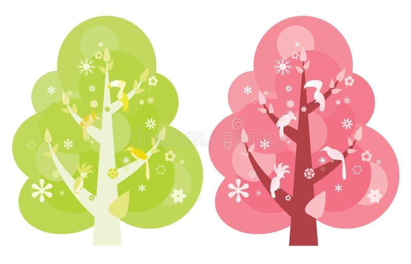 Oiseaux sur des arbres illustration stock