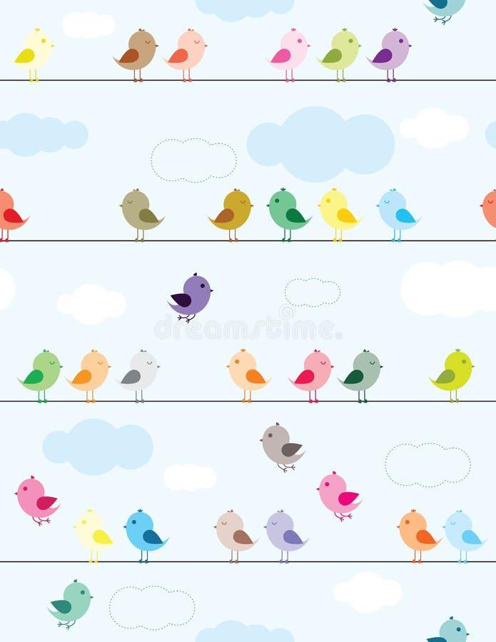 Oiseaux sur des fils illustration stock