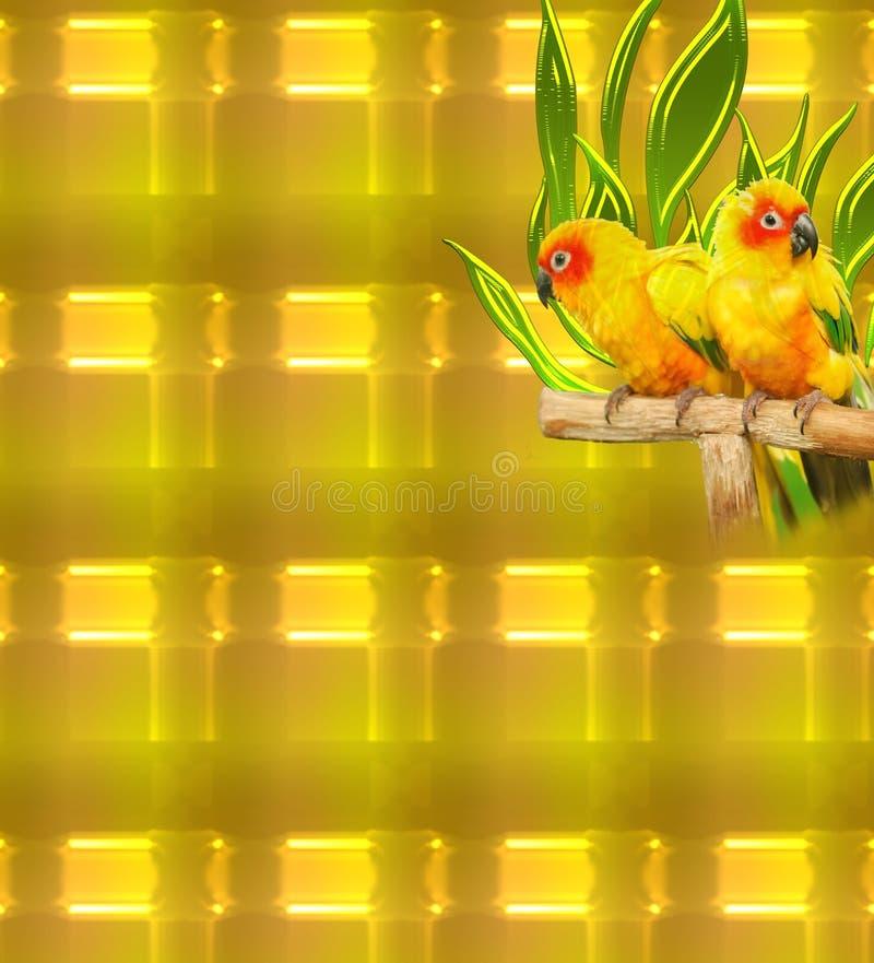 Oiseaux sur un fond abstrait rougeoyant d'or dans le modèle unique illustration de vecteur