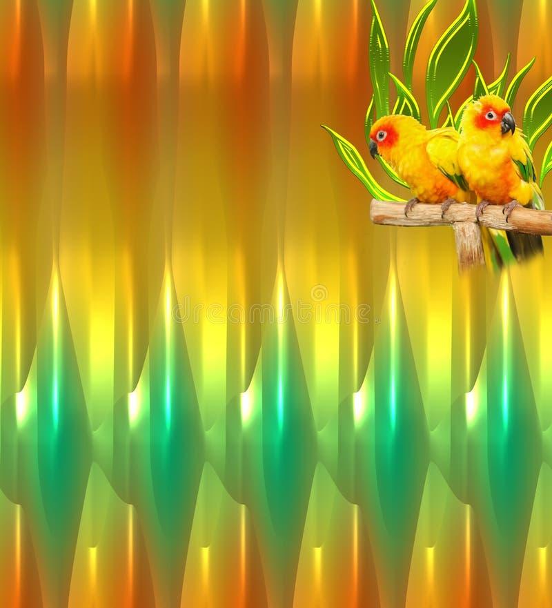 Oiseaux sur un fond abstrait rougeoyant vert et jaune illustration de vecteur