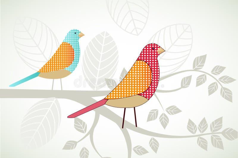 Oiseaux sur une branche illustration libre de droits