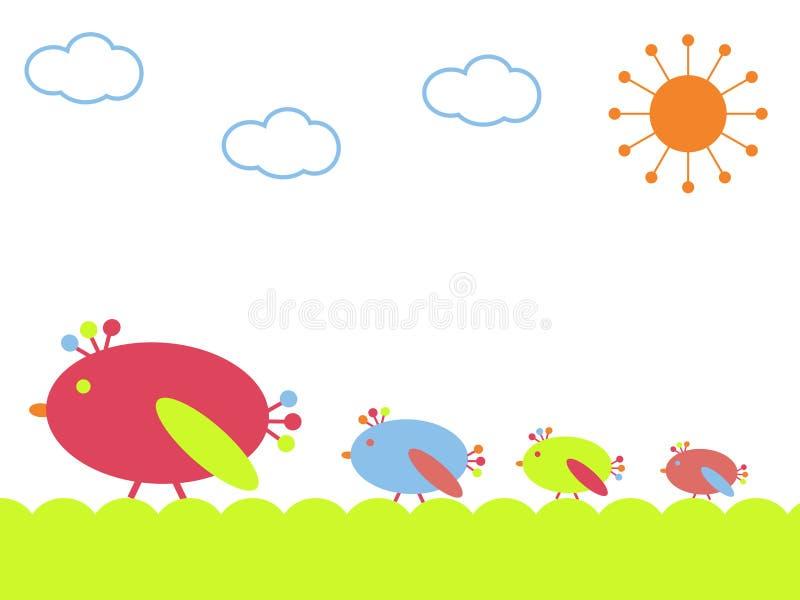 Oiseaux sur une promenade illustration libre de droits