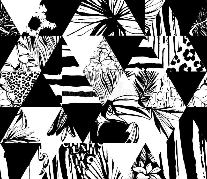 Oiseaux tropicaux de modèle sans couture, paumes, fleurs, triangles Style grunge d'encre illustration de vecteur