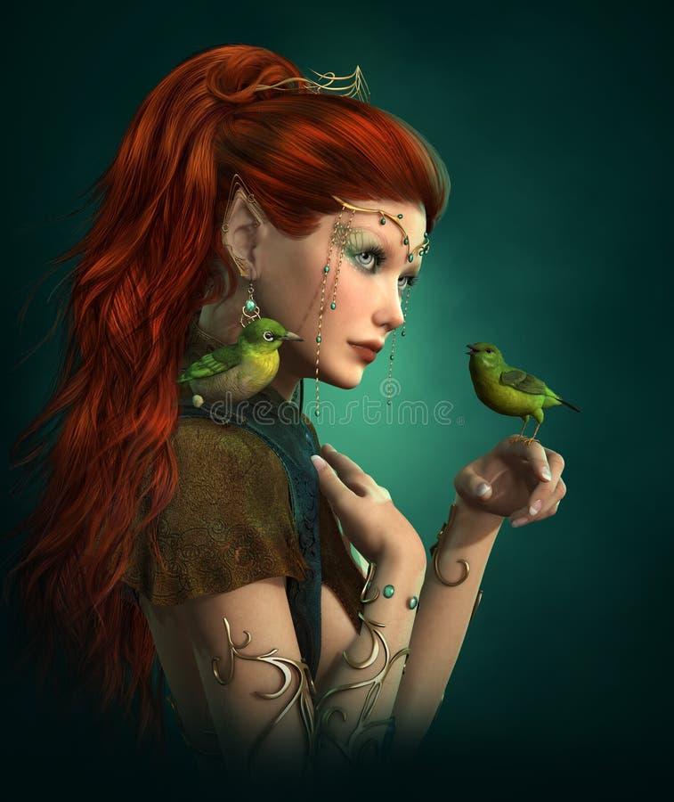 Oiseaux verts, 3d CG. illustration stock