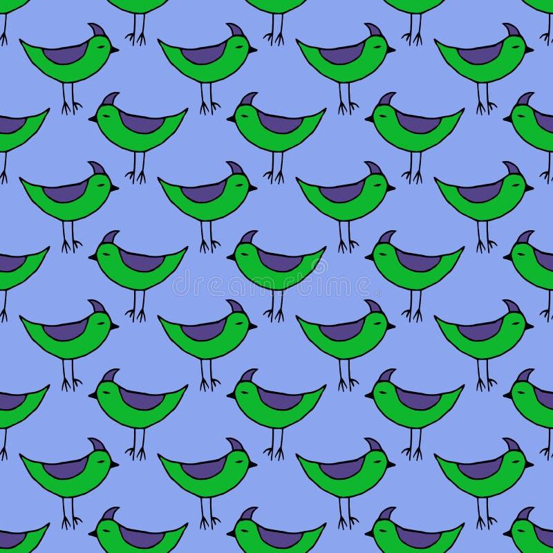 Oiseaux verts mignons réglés Dirigez la configuration sans joint illustration libre de droits
