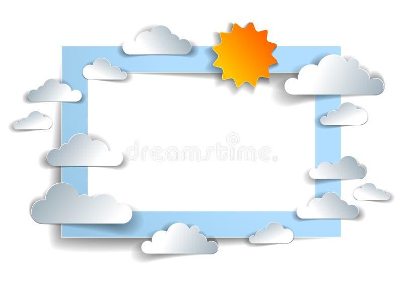 Oiseaux volant dans le ciel parmi de beaux nuages et soleil, backgrou illustration stock