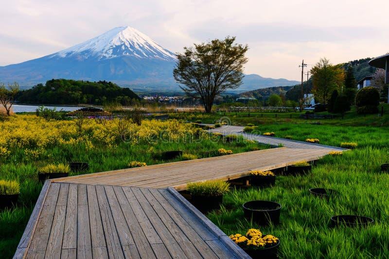 Oishi有Mt的庭院公园 黄昏富士mt 免版税库存图片