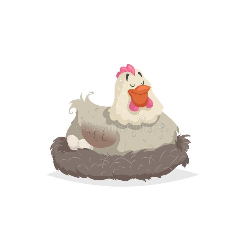 Oisillon blanc heureux de poule de bande dessinée Maternité, illustration de Pâques L'appartement avec des gradients simples conç illustration stock