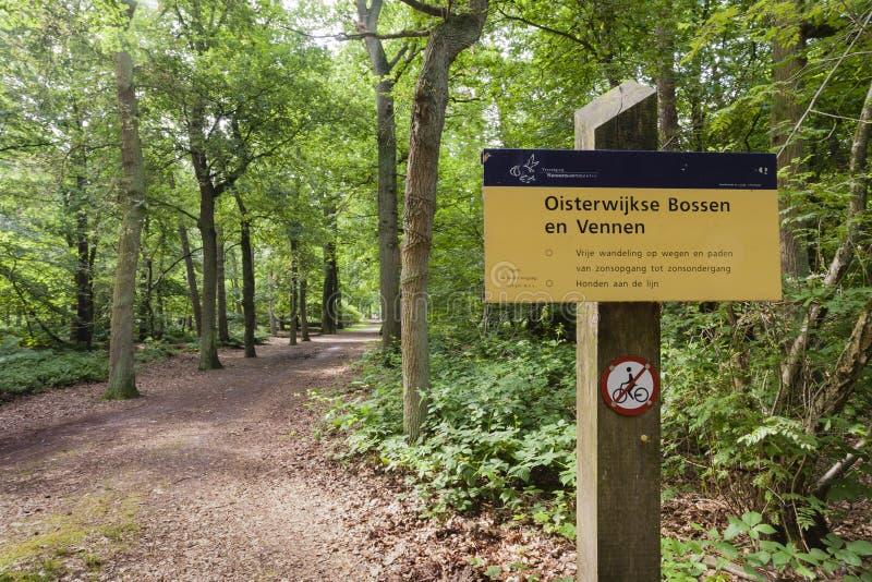 Oisterwijkse Bossen en Vennen, Oisterwijk Forests and Fens. Informatiebord in de Oisterwijkse Bossen en Vennen; Information sign at the Oisterwijk Forests and royalty free stock photos