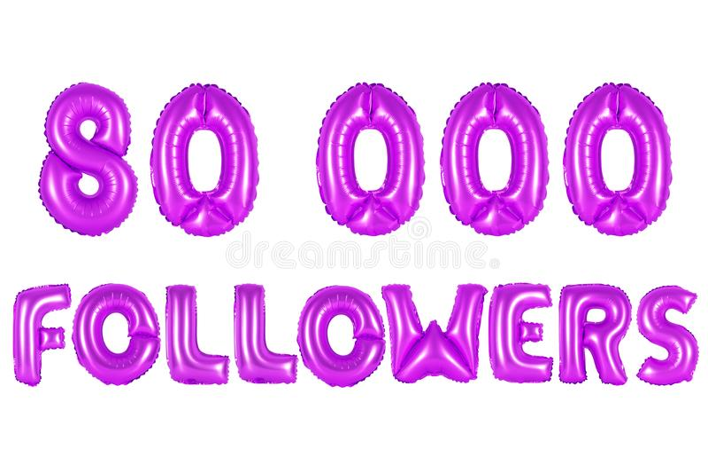 Oitenta mil seguidores, cor roxa foto de stock royalty free