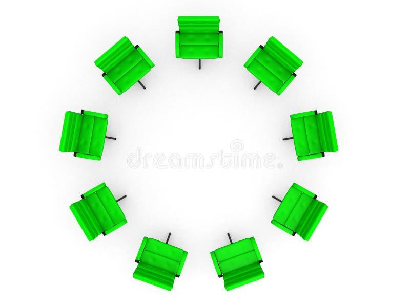Download Oito Cadeiras Do Escritório No Círculo Foto de Stock - Imagem de furniture, centro: 26520316