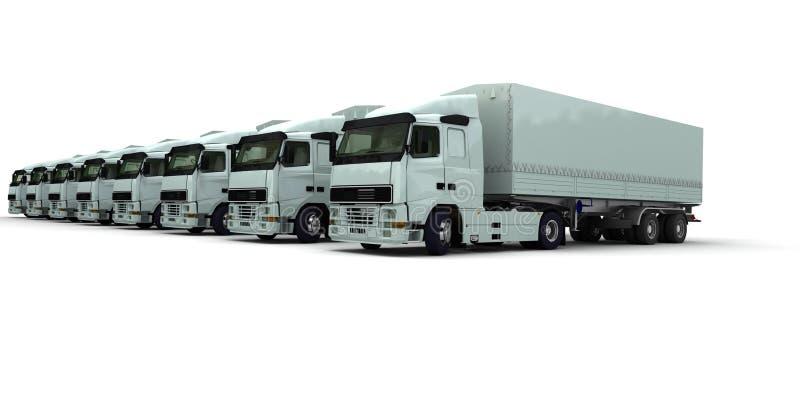 Oito caminhões brancos em uma fileira ilustração royalty free
