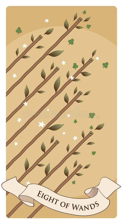 Oito das varinhas Cart?es de Tarot Oito hastes no ar, cercado pelas folhas, pelos trevos e pelas flores ilustração do vetor