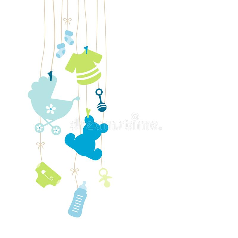 Oito deixaram o menino de suspensão dos ícones do bebê azul e verde ilustração royalty free