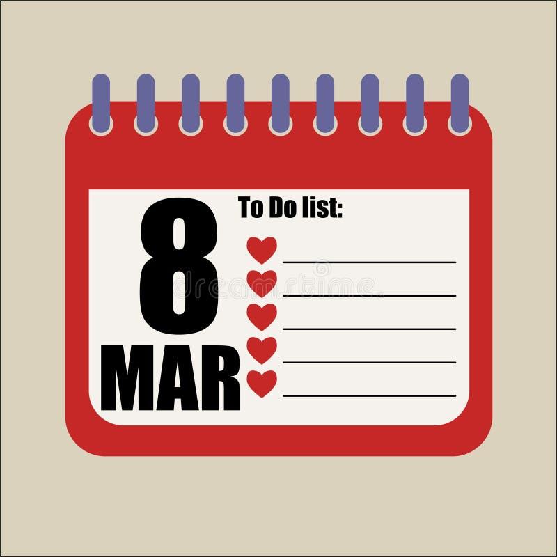 oito do calendário do março para fazer a lista ilustração do vetor