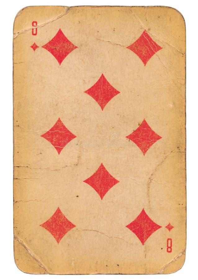 Oito do cartão de jogo soviético do estilo do grunge velho dos diamantes imagem de stock
