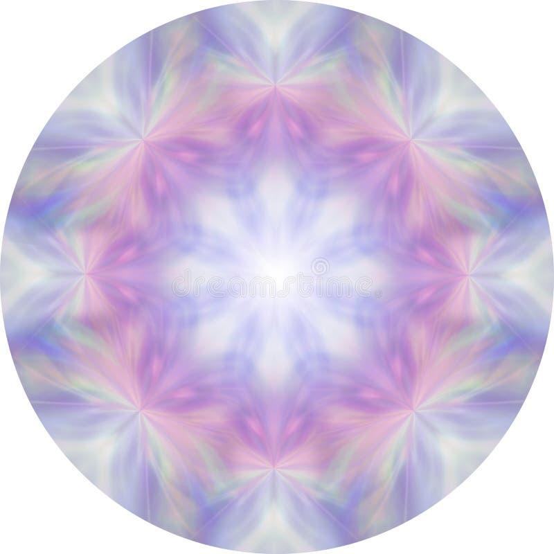 Oito femininos segmentam a mandala cor-de-rosa e azul da meditação ilustração do vetor