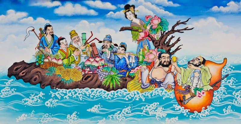 Oito immorals que cruzam a pintura do mar fotos de stock royalty free