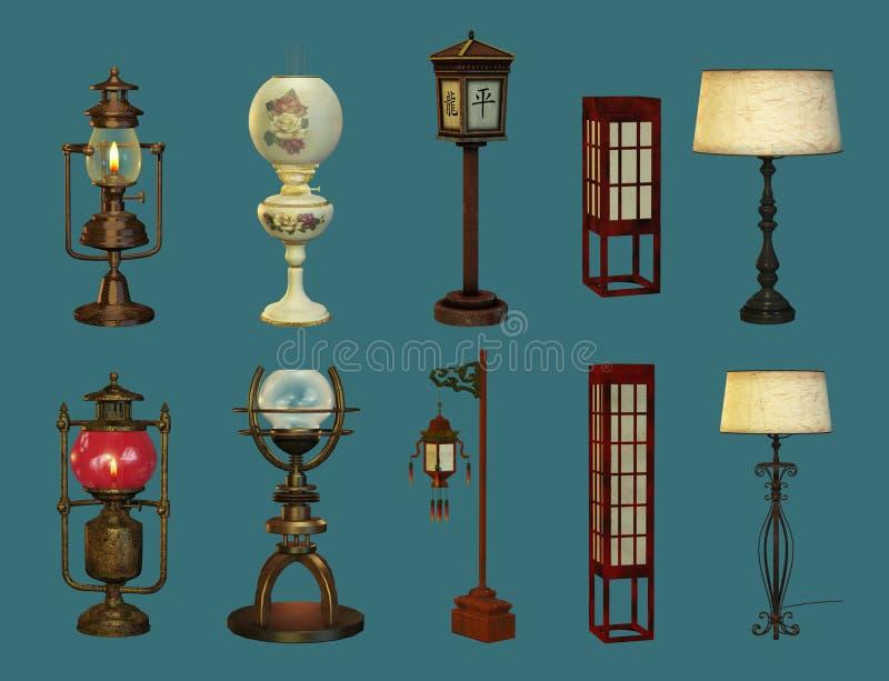 Oito lâmpadas e duas lanternas ilustração do vetor