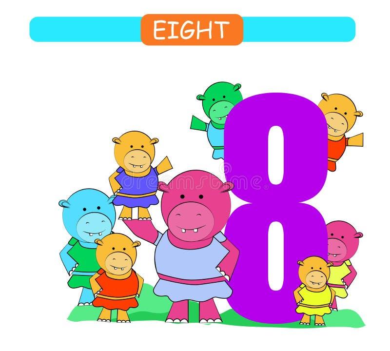 oito Número de coleção para o jardim de infância e o pré-escolar Aprenda o número 8 Hippopotamus ilustração do vetor