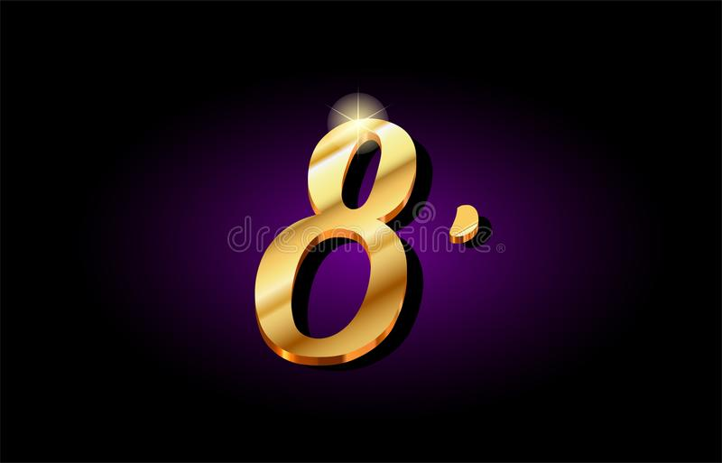 8 oito projeto dourado do ícone do logotipo do dígito numeral do número 3d ilustração stock
