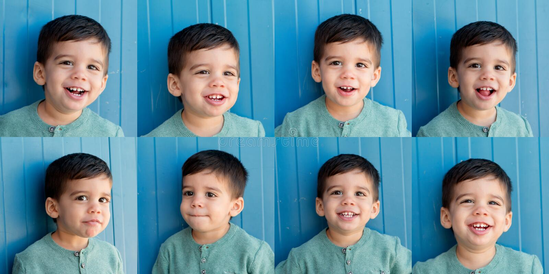 Oito retratos de uma criança engraçada com expresions dos diferents fotografia de stock royalty free