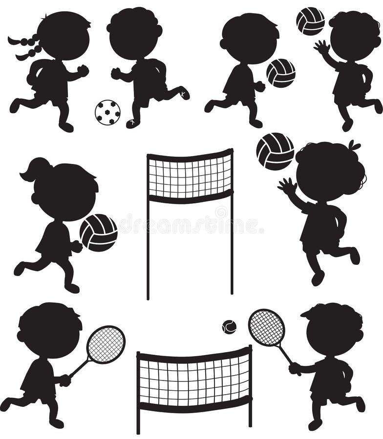 Oito silhuetas pretas das crianças desportivos ilustração do vetor