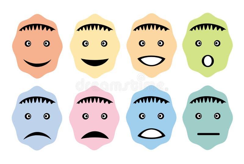 Oito smiley, rostos humanos, com emoções diferentes Imagens engra?adas Gr?ficos da arte do vetor ilustração royalty free