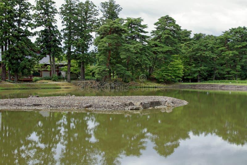 Oizumi ga ike pond of Motsu temple in Hiraizumi. Iwate, Japan stock images