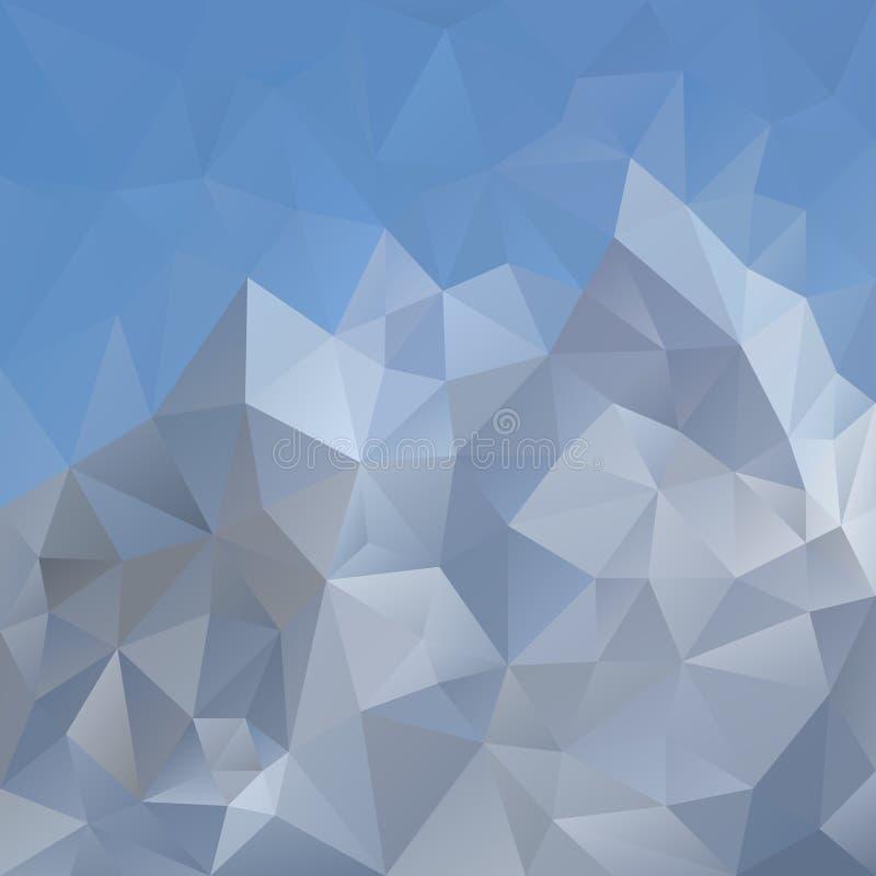 Ojämn polygonal fyrkantig bakgrund för vektor - för triangel poly modell lågt - ljus - blå himmel över det gråa berget vektor illustrationer