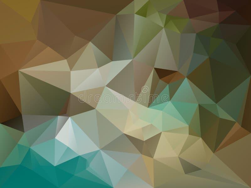 Ojämn polygonbakgrund för vektor med en triangelmodell i brunt, beiga, kaki, blått, turkos, grön färg royaltyfri illustrationer