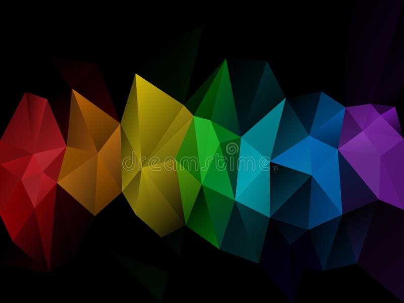 Ojämn polygonbakgrund för vektor med regnbåge för spektrum för färg för triangelmodell en oavkortad på mörker - horisontalremsa i royaltyfri illustrationer