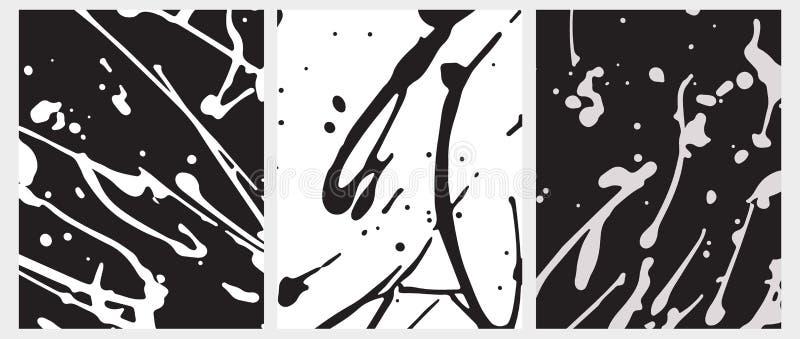 Ojämna handgjorda vita färgstänk på en svart bakgrund Svarta kludd på ett vitt royaltyfri illustrationer