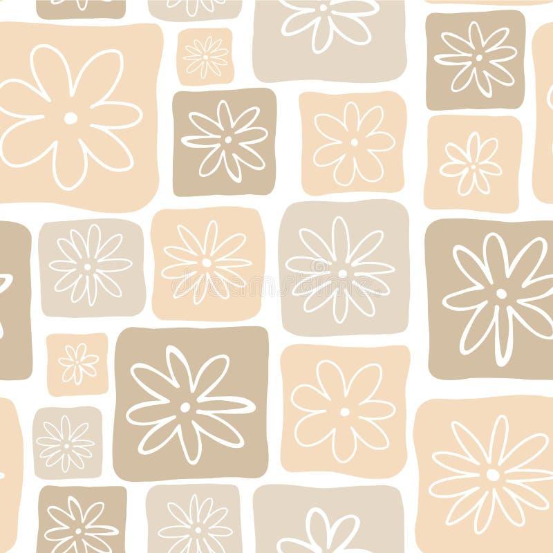Ojämna orange fyrkanter med vita blommor på en vit bakgrund seamless vektor för modell Göra perfekt för bakgrunder, tyg, stock illustrationer